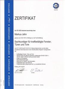 Zertifikat Markus Jahn -UVV Prüfung