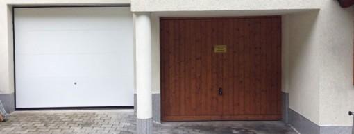 Sektionaltor weiss Enzelgarage im Wohnhaus vorher - nachher